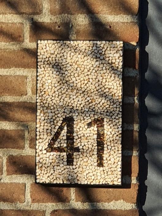 Huisnummer mozaïek