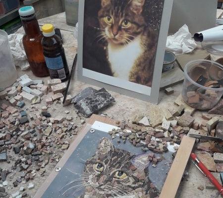 Mozaïek portret kat